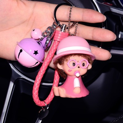 Lovely creative Kiki key chain Korean couple Keychain men female car key ring hanging bag