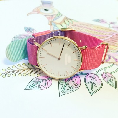 Watch with 13141718 20mm and Green Tea nylon canvas leather bracelet gradient