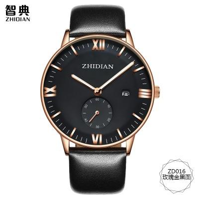 ZhiDian counters men watch men's watch waterproof leisure fashion wrist watch students really belt quartz movement