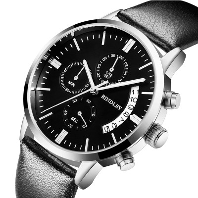 Bindley Authentic men's watch men's watch quartz fine steel strip waterproof activity han edition watch of wrist of contracted fashion students