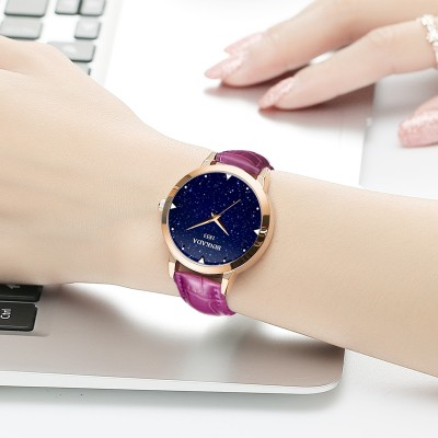 Ms bright star rose Jin Zhen belt watch fashion female female watch waterproof quartz watch students