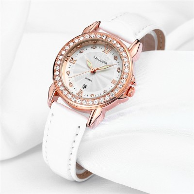 Ms card Rosa really belt watch female table Waterproof noctilucent fashion belt drilling Lady's wrist watch