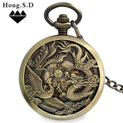 Automatic movement In extremely good fortune pocket watch wedding clamshell restoring ancient ways men and women lovers mechanical clamshell carve patterns or designs on woodwork old man