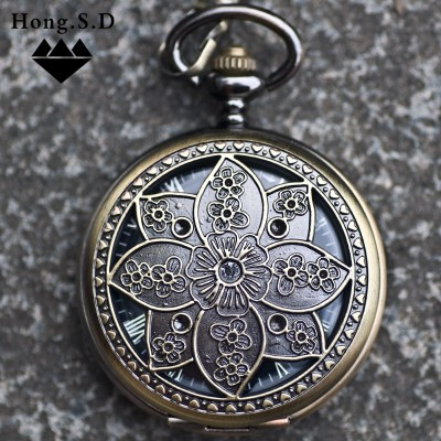The plum blossom clamshell hollow out Automatic mechanical watch men and women to restore ancient ways necklace table insert the student table
