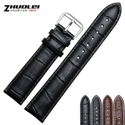 ZhuoLei bracelet Moisture-wicking crocodile grain band Genuine leather strap 18 19 20 | | | | 21 22 mm black | brown male