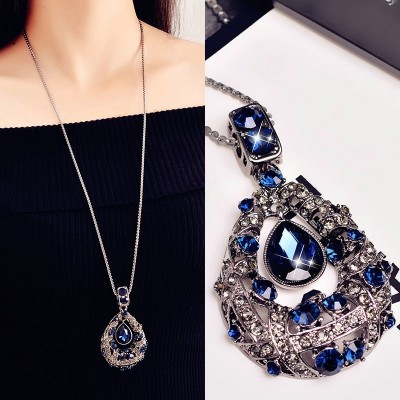 Compose love to water droplets temperament long qiu dong han edition Korea hang best match act the role of sweater chain necklace