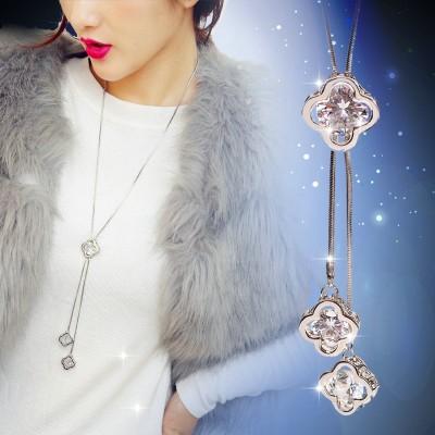 Compose good Korean clovers long qiu dong female fashion temperament sweater chain tassel pendant necklace joker garment accessories