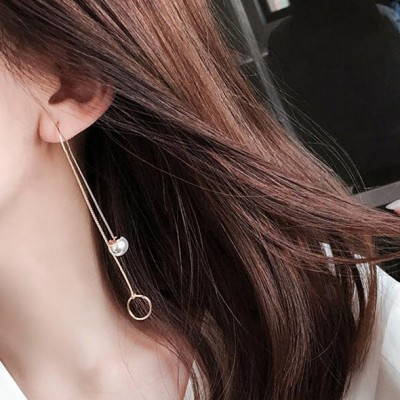 Sue heart South Korea fashion personality exquisite pearl ring long tassel pendant retro contracted earrings eardrop female personality