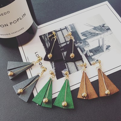 South Korea han edition of the new atmospheric long wooden triangle rod stud earrings exaggerated fashion joker female temperament earrings
