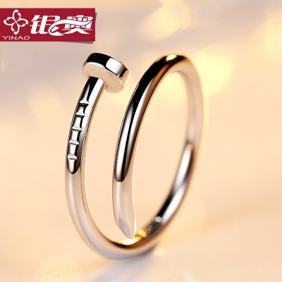 S925 silver nails male ring ladies fashion tidal tail index finger ring couples personality temperament of small ring, Japan and South Korea