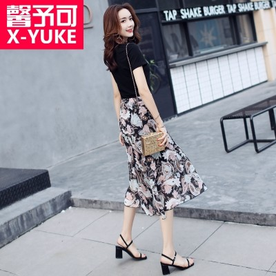 Female floral dress fashion dress Zhongchang summer thin short sleeved temperament two suit skirt 2017 NEW