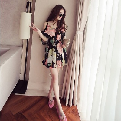 Chiffon floral dress female summer 2017 new tide size small fresh shoulder sling a strapless dress Beach
