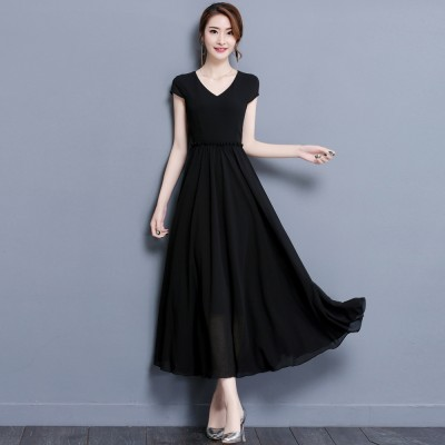 2017 summer new large size women with high waist obesity mm long thin loose Chiffon Dress Skirt