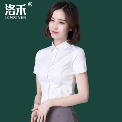 Luo Wo short sleeved shirt, women's professional OL women's dress, summer white, slim slim, cotton shirt, frock, work clothes