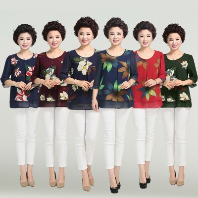In the old female summer coat short sleeved chiffon shirt 40-50 years old 60 years old mother dress code fat T-shirt 70 grandma