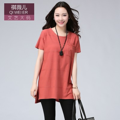 2017 fat mm short sleeved summer new female T-shirt simple retro and vintage in the long loose thin cotton T-shirt girl