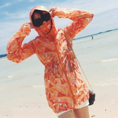 Sunscreen clothing female  new summer sun protection clothing long thin girls all-match female student tide sunscreen shirt coat