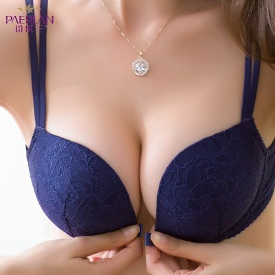 Perot Yilan lace bra steel ring buckle no female small chest gather zero bound sexy back summer underwear