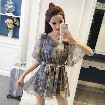 2017 new summer dress pants Korean fashion stamp loose V collar Sleeve Chiffon skirts tide female Siamese lotus leaf