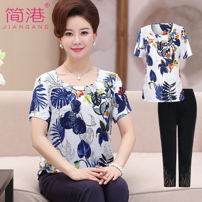 In older women's short sleeved summer suit jacket 40-50 year old mother dress summer cotton T-shirt in two set