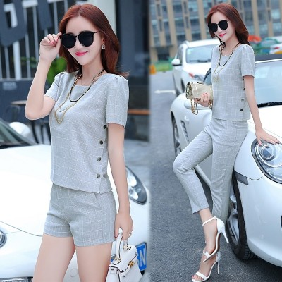 2017 New Summer Shorts two piece nine pants cotton short sleeved temperament Korean fashion suit dress tide