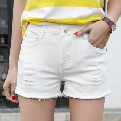 The 2017 summer students white hole denim shorts female flash Korean thin wide leg pants loose tide temperament
