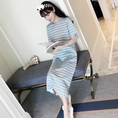Korean female cotton short sleeved summer pajamas cute female cotton Nightgown striped summer loose Princess long service Home Furnishing
