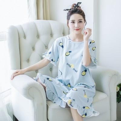 Lovely summer summer cotton Nightgown female pajamas loose skirt Korean size Princess Home Furnishing wear short sleeved women thin