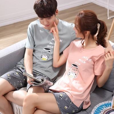 Lovers' pajamas, women's summer short sleeves, pure cotton Korean Edition, sweet set, men's cotton cartoon, cute summer home clothes