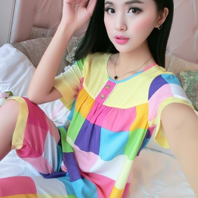 New spring and summer, short sleeves, thin cotton, silk pajamas, women's neck, loose and lovely, printed two suits, home clothes, women