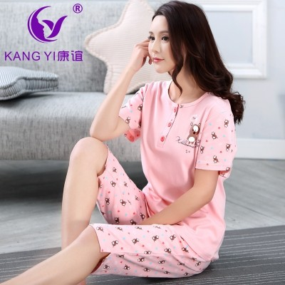 Hongkong Kang Yi pajamas, women's cotton, summer short sleeve five points, pants, women's cartoon pajamas, cotton home wear set women