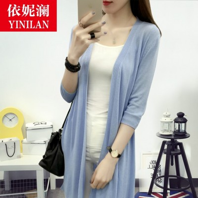 The new summer ennear thin cardigan female take seven sleeve sweater in the long hollow size loose coat