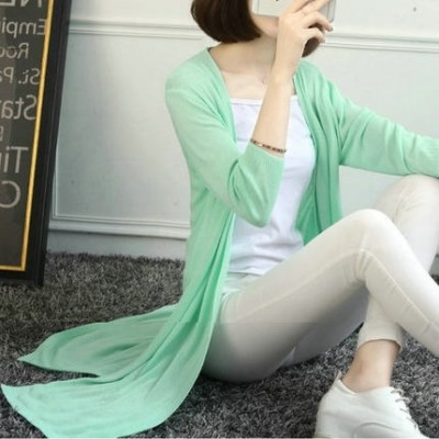 2017 new summer thin cardigan in the long sleeve knit sweater loose seven air conditioning coat size female sunscreen