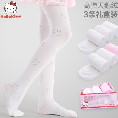 HelloKitty children even socks spring thin silk stockings female wear velvet Leggings socks baby dance