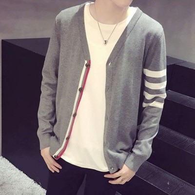 The spring and autumn sweater V collar cardigan sweater England youth male male Korean Japanese slim thin fashion jacket