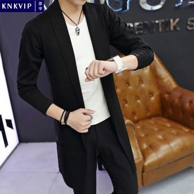 In the spring of new men's sweater cardigan teenage boys long windbreaker thin sweater slim Korean male
