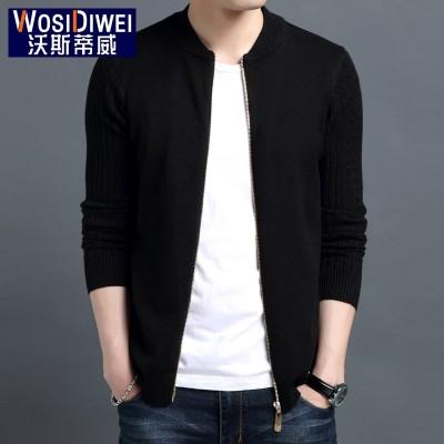 The fall of man thin sweater collar Cardigan Sweater Jacket Coat SWEATER MENS young Korean tide