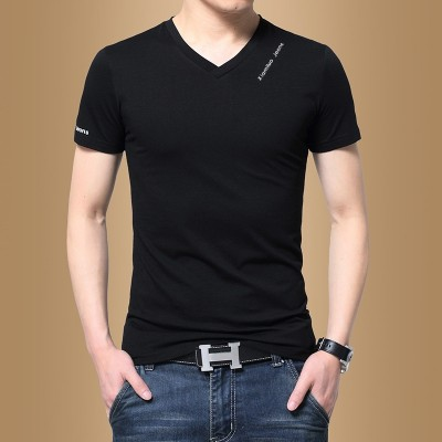 Men's short sleeved T-shirt, V collar solid color, summer men's clothing, half sleeve, Korean fashion, self-cultivation, T-shirt, T-shirt tide