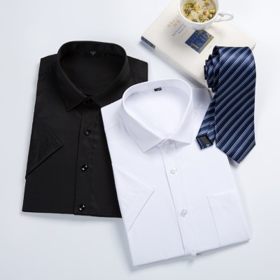 Summer short sleeved white shirt, men's slim solid color business suit, professional dress shirt, XL men's T-shirt