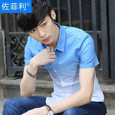 Summer men's short sleeve shirts, Korean version of slim, young men's shirts, thin students, handsome casual trend shirt