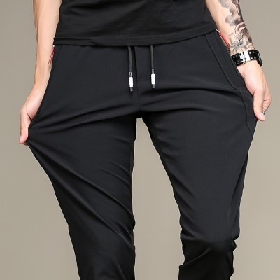 Summer stretch casual pants, black youth trousers, summer self-cultivation, elastic trousers, men's loose pants