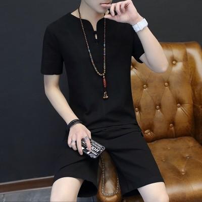 Men's shorts suit, summer cotton casual pants, five point pants, men's Korean style, trend of summer beach pants