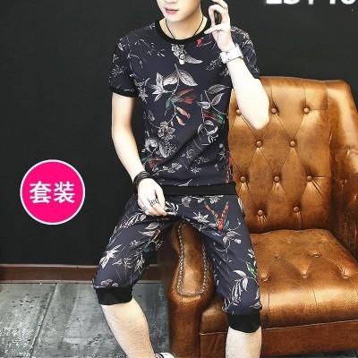 Short sleeve t-shirt men's suit, summer Korean Shorts Set, trend, personality, leisure, two sets, men's clothes