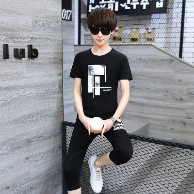 Young men's sports suits, men's summer, handsome clothes, junior high school students, short sleeved T-shirts, two sets