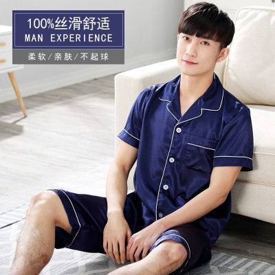 Matisse like summer pajamas men's silk pajamas shorts silk thin clothing XL Home Furnishing spring set