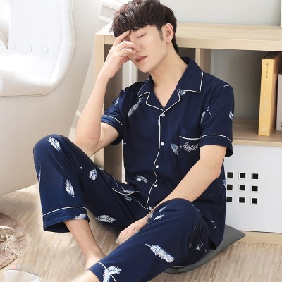 Men's pajamas, short sleeved trousers, cotton, summer, thin, middle-aged, XL, cotton, spring, summer home suit