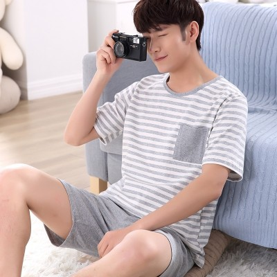 Pajamas, men's summer short sleeve, cotton shorts, stripe youth, big size summer, thin cotton men's home wear suit