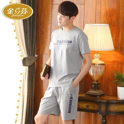 Can wear men's pajamas, summer cotton short sleeves, cotton men's clothing, large size, thin men's home wear suit movement