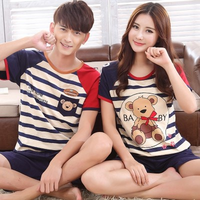 Korean Short Sleeve lovers pajamas, female summer cotton cartoon men's home clothes, summer XL shorts, thin set of suits