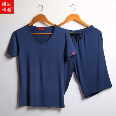 Male silk pajamas summer sport suit Home Furnishing modal thin short sleeved Shorts XL